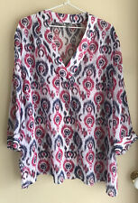 BiB Size 18 Semi Sheer Muted Multi Colour Top With V Neck and 3/4 Sleeves