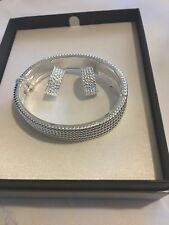 Silvertone Snap Lock Cuff Bracelet with Bead Texture Design-New