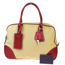 Authentic PRADA MILANO Bowling Hand Bag Canvas Leather Silver Red Italy 66BP404