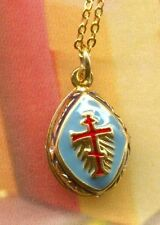 "Faberge Inspired  Blue Egg Pendant with Orthodox Cross and 18"" Chain"
