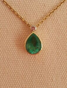 EMERALD 2.50ct With DIAMOND  Necklace 18KT GOLD Val $7760