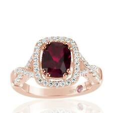 Suzy Levian Rose Sterling Silver Simulated Ruby and White CZ Engagement Ring
