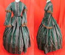 Victorian Civil War Era Green Plaid Silk Taffeta Hoop Skirt Pagoda Sleeves Dress
