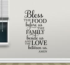 Quote Wall Decal Bless The Food Lettering Vinyl Sticker Art Decor Poster 63thn