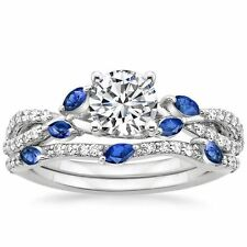 2.00CT Diamond & Blue Sapphire Marquise Luxe Willow Wedding Ring in 14K Gold