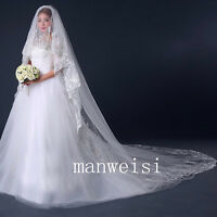 2 T 4 M Cathedral Length Lace Wedding Veils Applique Bead Sequin Bridal New Veil