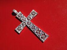 Ladies 18k White Gold and Diamond Cross Pendant with Diamond Bale