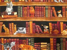 CATS BOOKS SHELVES CAT COTTON FABRIC BTHY
