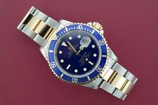 Men's Rolex Submariner Date 16613 Two-Tone Blue Bezel & Dial Circa 1997