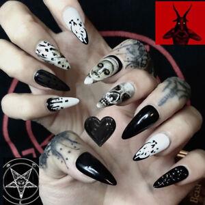 24 Pcs False Nails Gothic Skeleton Pattern Artificial Nail Tips Nail Decoration