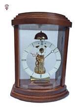 BilliB Lindsey Mantel Clock with Curved Glass, Westminster Chime in Walnut