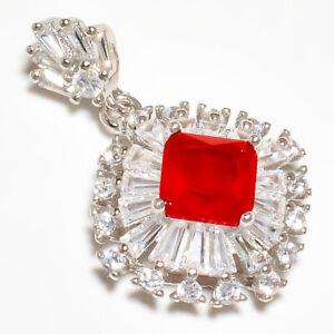 "Ruby & White Topaz Gemstone 925 Sterling Silver Pendant Jewelry 1.15"" S1987"