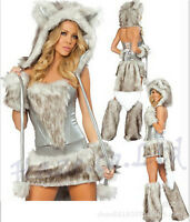 Halloween Ladies Sexy Fluffy Cat Costume Animal Cosplay Party Fancy Dress New