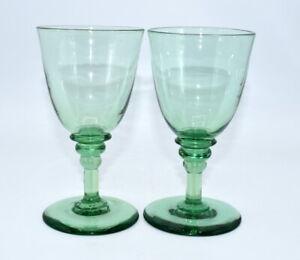 PAIR 19THC VICTORIAN ANTIQUE GREEN WINE GLASSES B