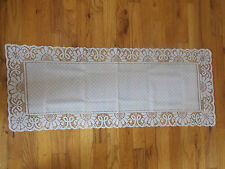 HERITAGE LACE WHITE CANTERBURY TABLE RUNNER 15X37 FACTORY ERROR NWOT #7018
