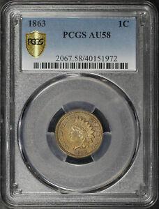 1863 Indian Head Cent PCGS AU-58