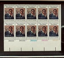 US Stamps, Scott #1554 10c 1975 Plate Block of 10 of Dunbar XF/S M/NH. PO Fresh