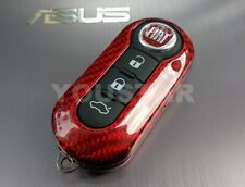 UK SELLER CARBON RED Replacement Remote Key Cover for Abarth Fiat 500 595 Punto