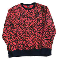 "AIR JORDAN ""ALL OVER ELEPHANT PRINT"" FLIGHT SWEATER RED/BLACK MENS SIZE 3XL"