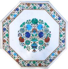 36 Inches Marble Dining Table Top Inlay Hallway Table with Semi Precious Stones
