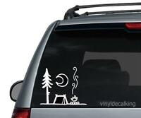 Camp Fire and tent Die cut Vinyl Decal -campfire Hiking Car Window Sticker phone