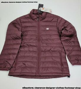 Levis Presidio Packable Jacket Burgundy Red Down Lightweight Puffer RRP £110
