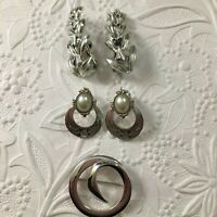 Vintage CORO Earrings Leaves, 1928 Jewelry Co. Clip-on, & Monet Modernist Circle