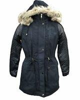 NEW LADIES BRAVE SOUL LJK JILL HOODED BLACK PARKA JACKET COAT UK SIZE 8-16