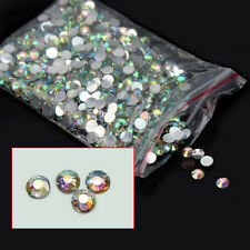 1000Pcs Marvellous 4mm Nail Art Flatback Crystal AB 14 Facets Resin Round Beads