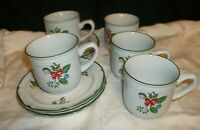 LOT OF 5 STONEWARE CHRISTMAS CUPS AND SAUCERS.