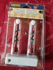 Lemax Lighted Accessory Frosted Lantern style Street Lights w/deco garland Nip