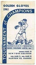 1941 Golden Gloves Madison Square Garden Vintage boxing Program RARE nm - mint