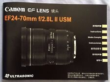 Original Canon EF 24-70mm f2.8L II USM Lens User's Instruction Manual