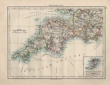 1899 VICTORIAN MAP ~ ENGLAND SOUTH WEST ~ CORNWALL DEVON INSET SCILLY ISLANDS
