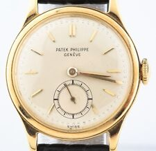 Vintage Patek Philippe Men's 18k Gold Calatrava Watch Champagne Dial Model# 1491
