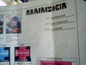 RAMMSTEIN - 2012 TOUR -  VIP Badge details - COPY