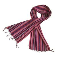 Paul Smith MAINLINE Pink Purple Red Stripe scarf 58% Silk 42% cotton