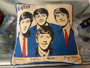 Vintage 1964 Beatles Pillow Blue Version