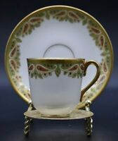 Bawo & Dotter Elite Works France Limoges Paisley Flat Cup & Saucer Gold Green