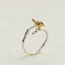 New Fashion Silver/Gold Plated Ring Cute Tree Branch Birds Opening Ring Female
