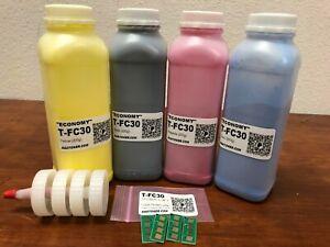 (EC0NOMY) 4 Toner Refill for Toshiba 2051C, 2551C, 2050C, 2550C + 4 Chip (TFC30)