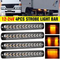 4x 12 LED Feux de Pénétration Barre Lumineuse Stroboscopique 12V-24V Auto Camion