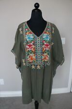 e3ba6f5c914 Johnny Was JWLA Embroidrd Sita Linen V Neck Poncho Blouse Cover up Dress S