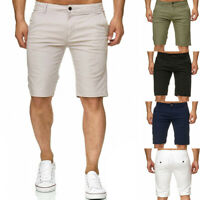 Men Shorts Slim Fit Flat Front Summer Casual Solid Color Hot Pants Slim Trousers
