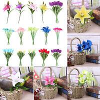 1/10pc Tulip Calla Lily Artificial Silk Flower Wedding Bouquets Party Home Decor
