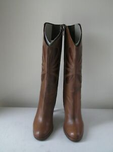 SHELLYS OF LONDON womens brown embroidered cowboy mid calf boots Size UK 6 EU 39
