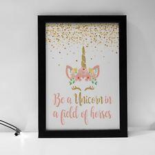 Unicorn Quote Print Pink Glitter Flower Girls Room Decor Kids Playroom Prints