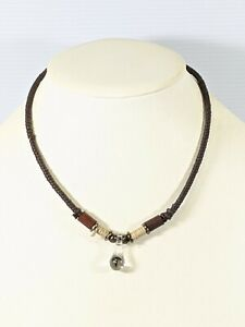 Brown Cord Glass Black Mushroom Pendant Corded Choker Necklace 17 Inches
