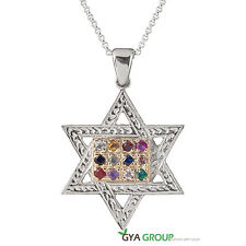 A Divine Kabbalah Star of David silver pendant with 9K Gold & breastplate stones