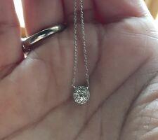 Round Halo Pave Diamond Necklace